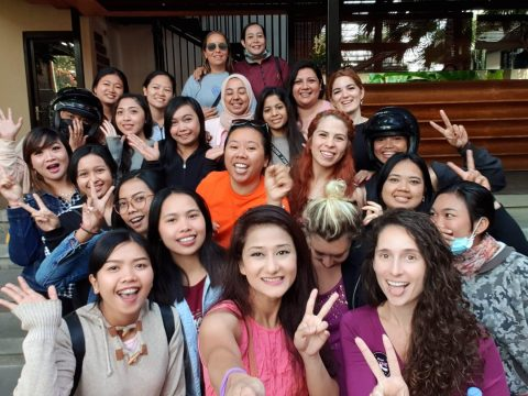 all the retreat girls at the city center of bali