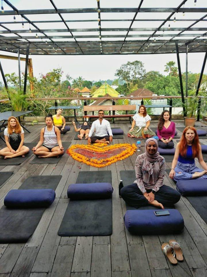 meditation on the terrasse at the retreat