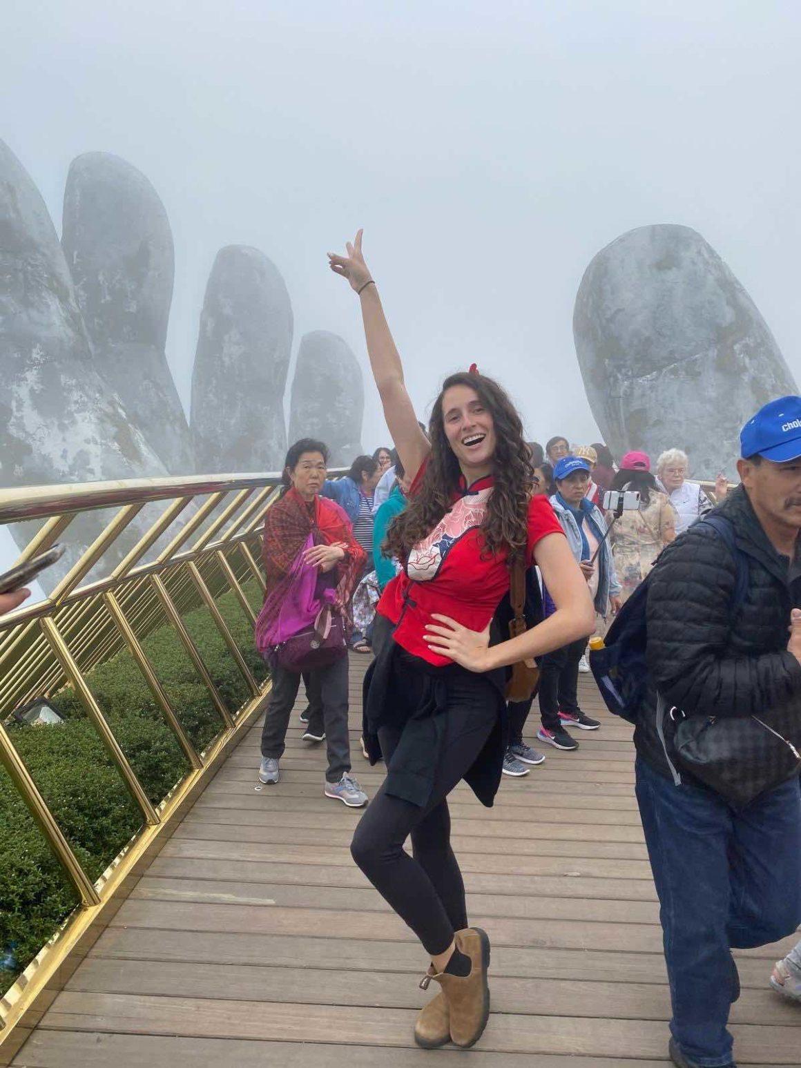 Alyne visiting the famous bridge in vietnam